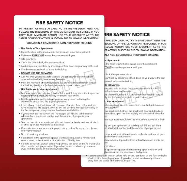 FDNY Fire Safety Notice (Combustible) Vinyl Adhesive