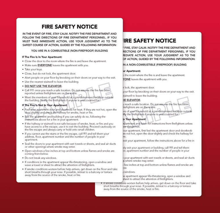 FDNY Fire Safety Notice (Non-Combustible) Vinyl Adhesive